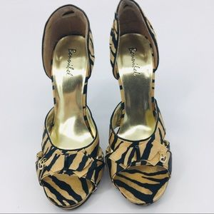 Bonnibel Tiger Print Open Toe Stilettos Size 8